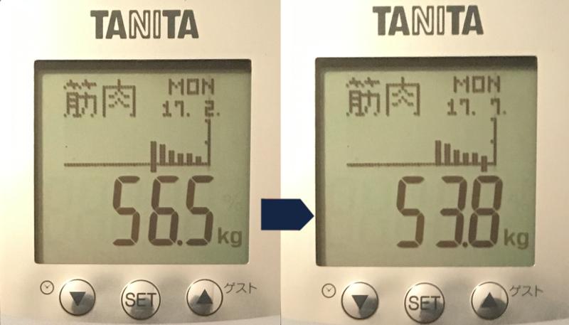 2017年2月から7月の筋肉量